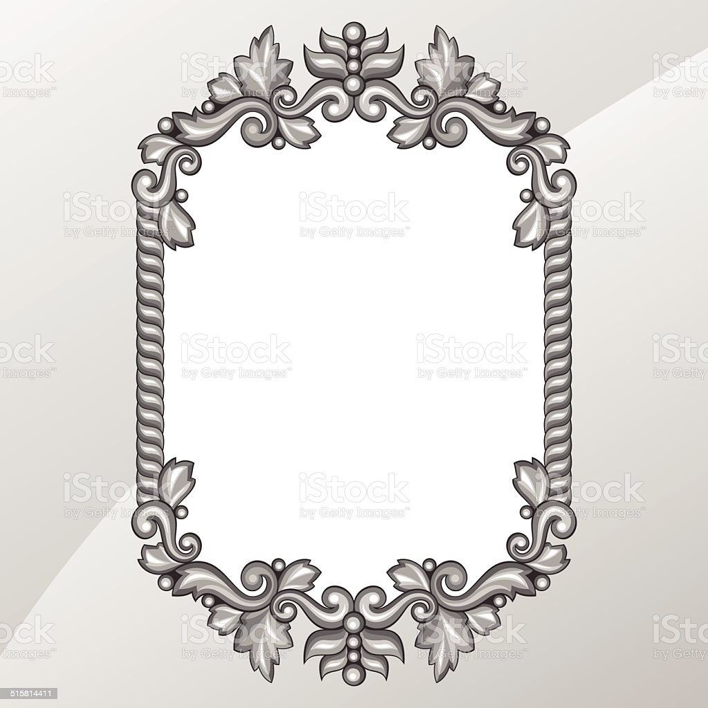 Baroque ornamental antique silver frame on white background. vector art illustration
