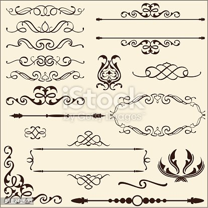 Baroque ornate set  isoladed on beige
