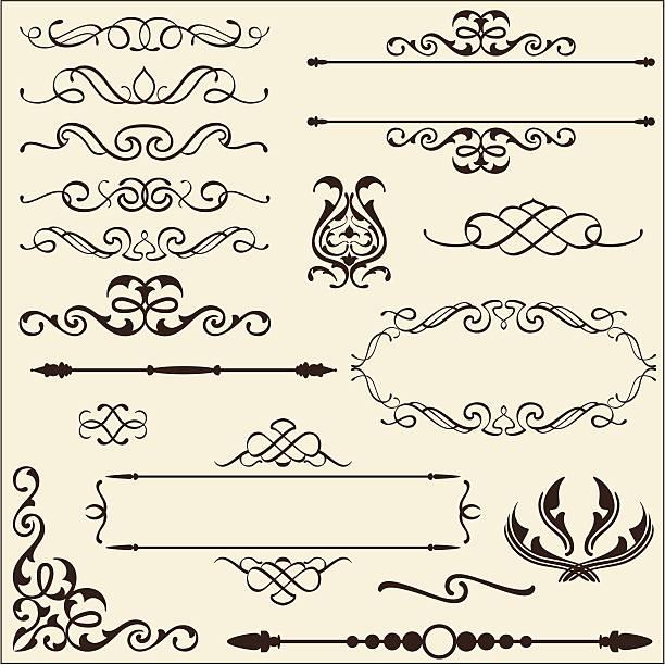 stockillustraties, clipart, cartoons en iconen met baroque ornate set - maaswerk