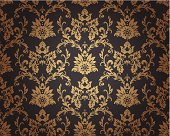 Seamless damask wallpaper pattern. The gradients can be replaced by plain colors easily.