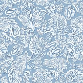 Baroque seamless pattern or background with birds and flowers in blue style