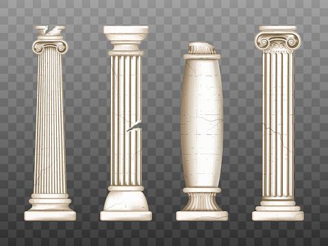 Baroque pillars, roman renaissance cracked columns