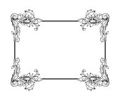 Baroque rococo border frame acanthus filigree vintage floral wedding decoration