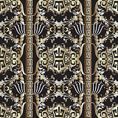 Baroque seamless pattern. Black vector damask background wallpaper with vintage gold silver flowers, scroll leaves, meanders, greek key ornament. Ornate beautiful texture. Luxury floral borders design