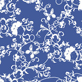 Baroque seamless pattern with silhouette of chains and flowers. Vector floral patch for print.