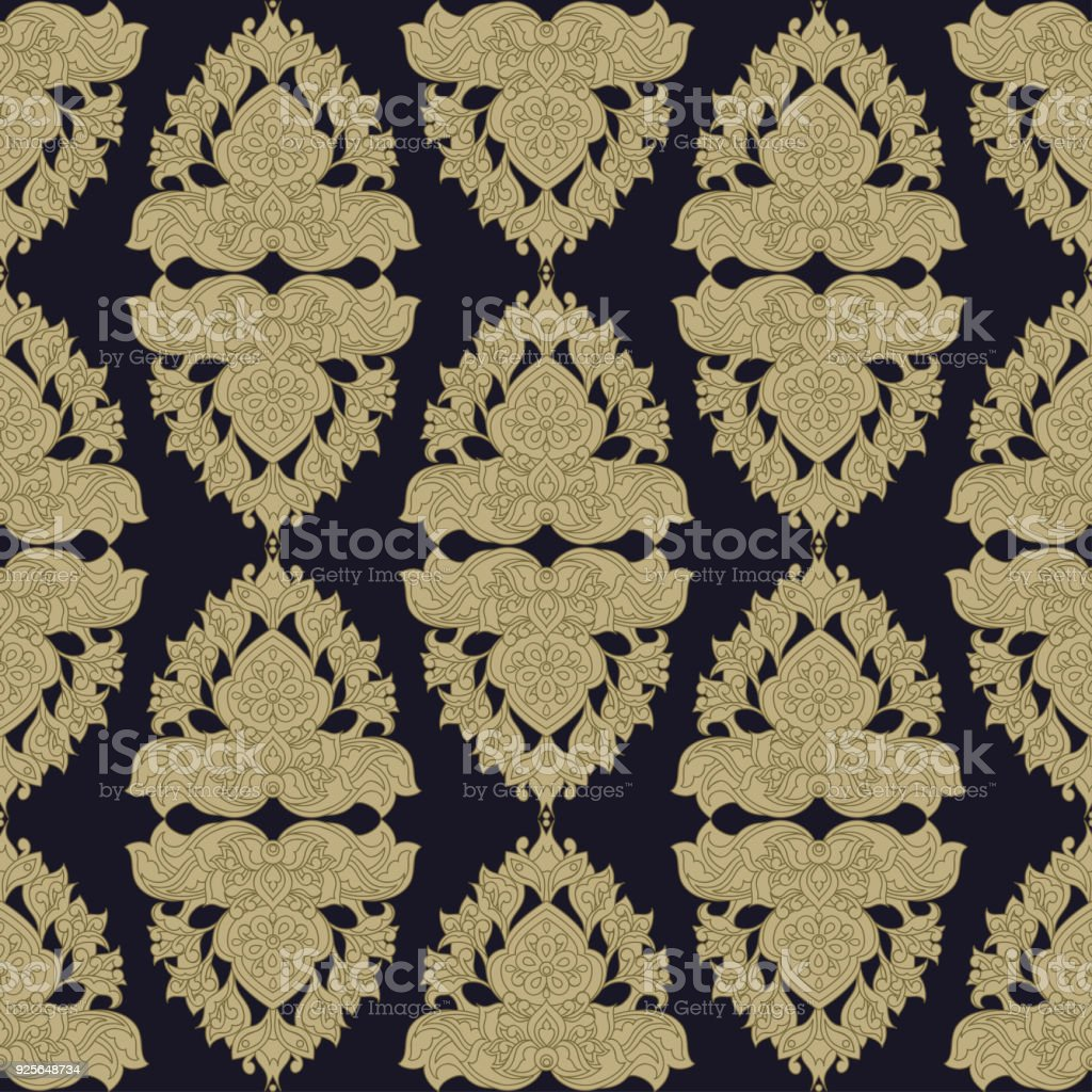 Baroque Style Wallpaper Seamless Vector Pattern Royalty Free
