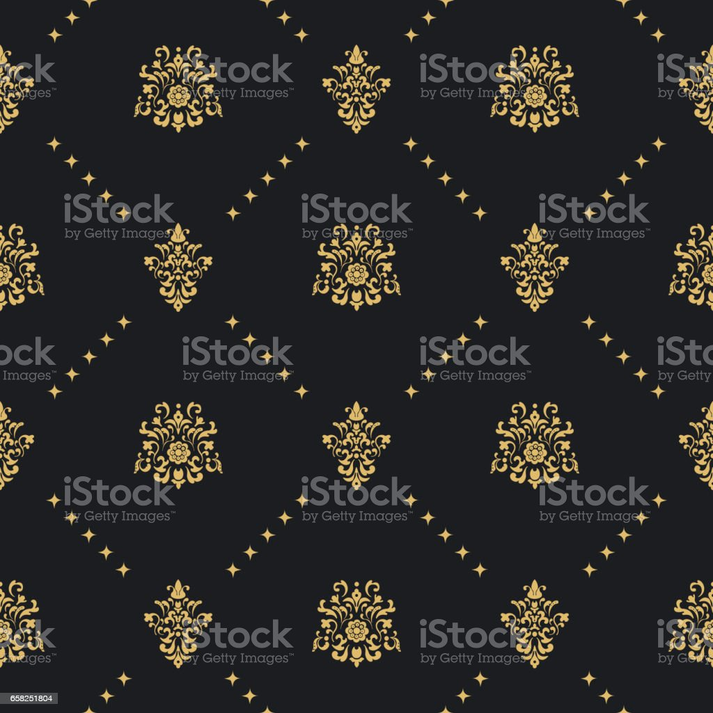 Baroque vintage background with golden ornament - ilustración de arte vectorial