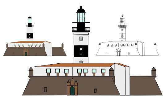 Barra Lighthouse and military fort.