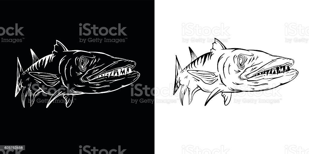 Barracuda print vector art illustration