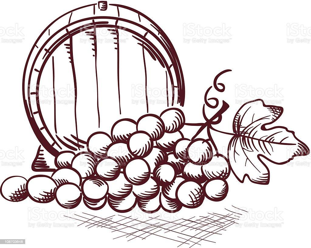 barrel and grapes royalty-free stock vector art
