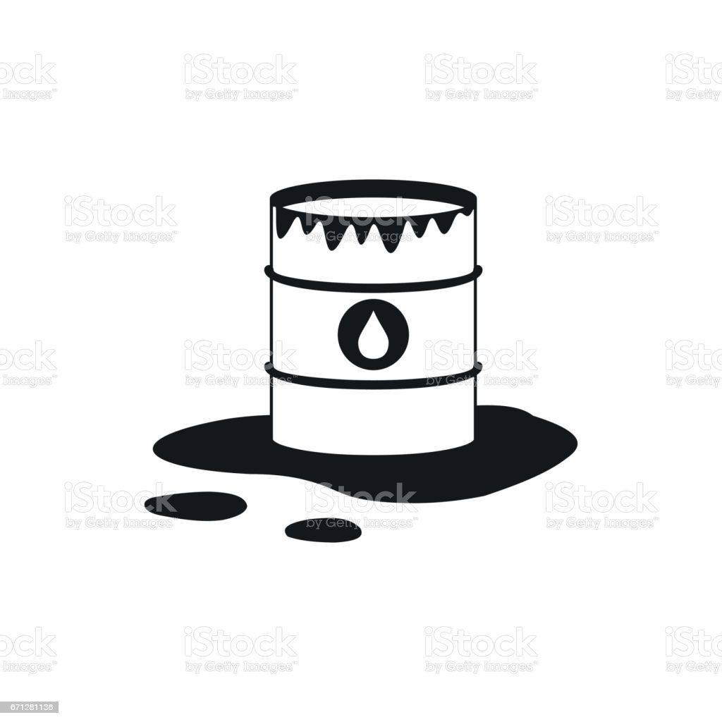 Barrel and oil spill icon icon, simple style vector art illustration