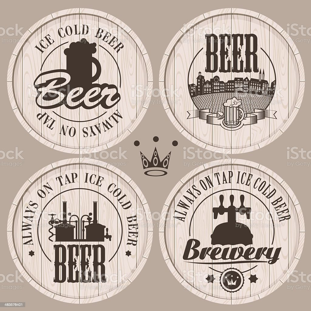barrel beer vector art illustration