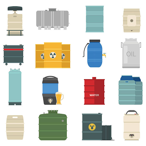 Barrel capacity tanks vector set. Stack different oil drums container liquid cask storage object. Rows of steel barrels capacity tanks. Natural wooden barrel capacity tanks. Wine old beverage alcohol barrel capacity tanks vector set. volume fluid capacity stock illustrations