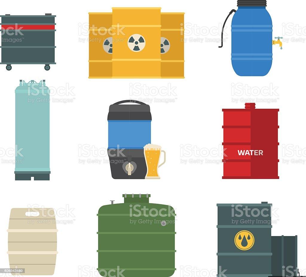 Barrel Kapazität tanks Vektor-set. – Vektorgrafik