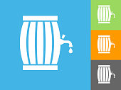 Barrel Flat Icon on Blue Background. The icon is depicted on Blue Background. There are three more background color variations included in this file. The icon is rendered in white color and the background is blue.