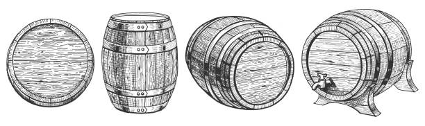 barrel from a different angle vector art illustration