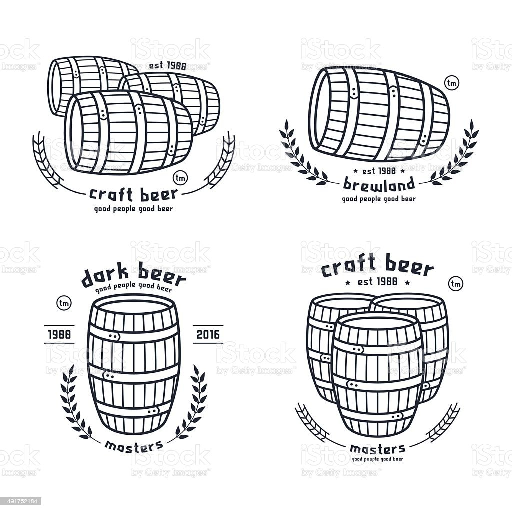 Barrel homebrew emblems vector art illustration