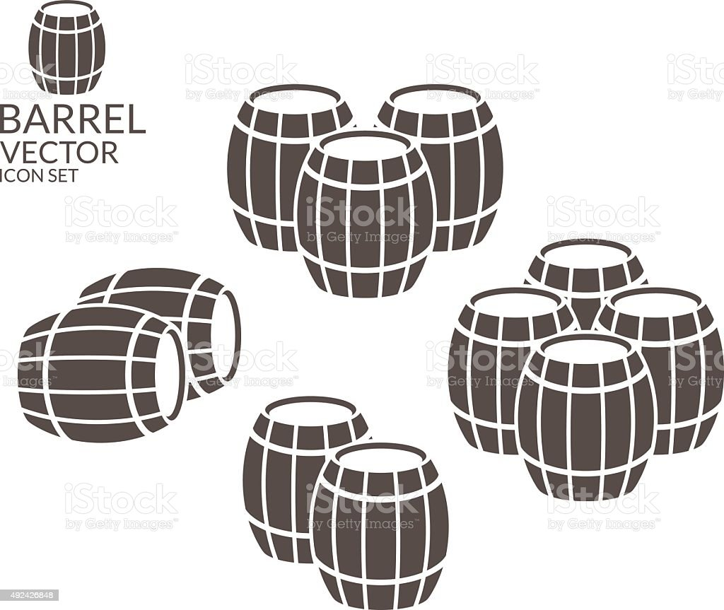 Barrel. Icon set vector art illustration