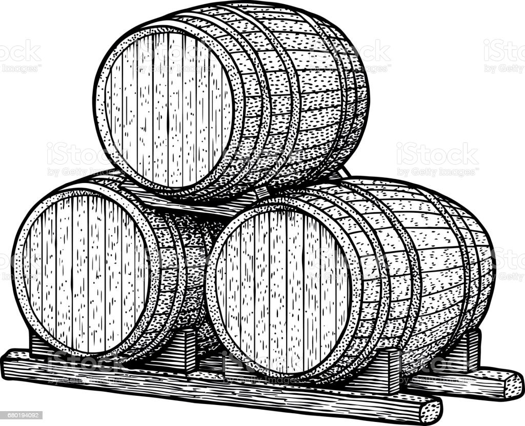 Barrel illustration, drawing, engraving, ink, line art, vector vector art illustration