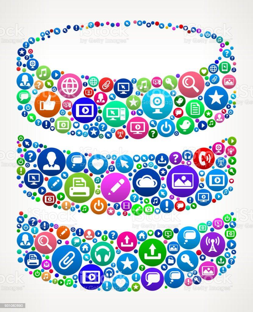 Barrel Internet Communication Technology Icon Pattern vector art illustration