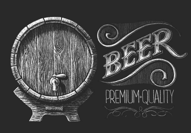 Barrel of beer on chalkboard vector art illustration