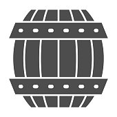 Barrel of beer solid icon, Craft beer concept, vintage wooden barrel sign on white background, wooden container for alcohol drinks icon in glyph style for mobile and web. Vector graphics