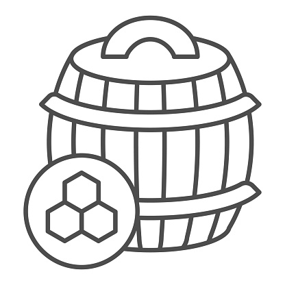 Barrel of honey thin line icon, beekeeping concept, wooden barrel and honeycomb sign on white background, honey keg icon in outline style for mobile concept and web design. Vector graphics.
