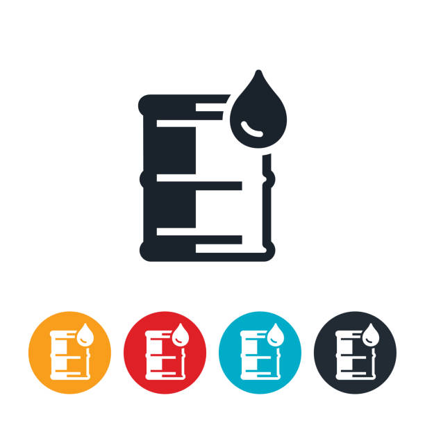 Barrel of Oil Icon An icon of a barrel of oil and an oil drop. oil drum stock illustrations