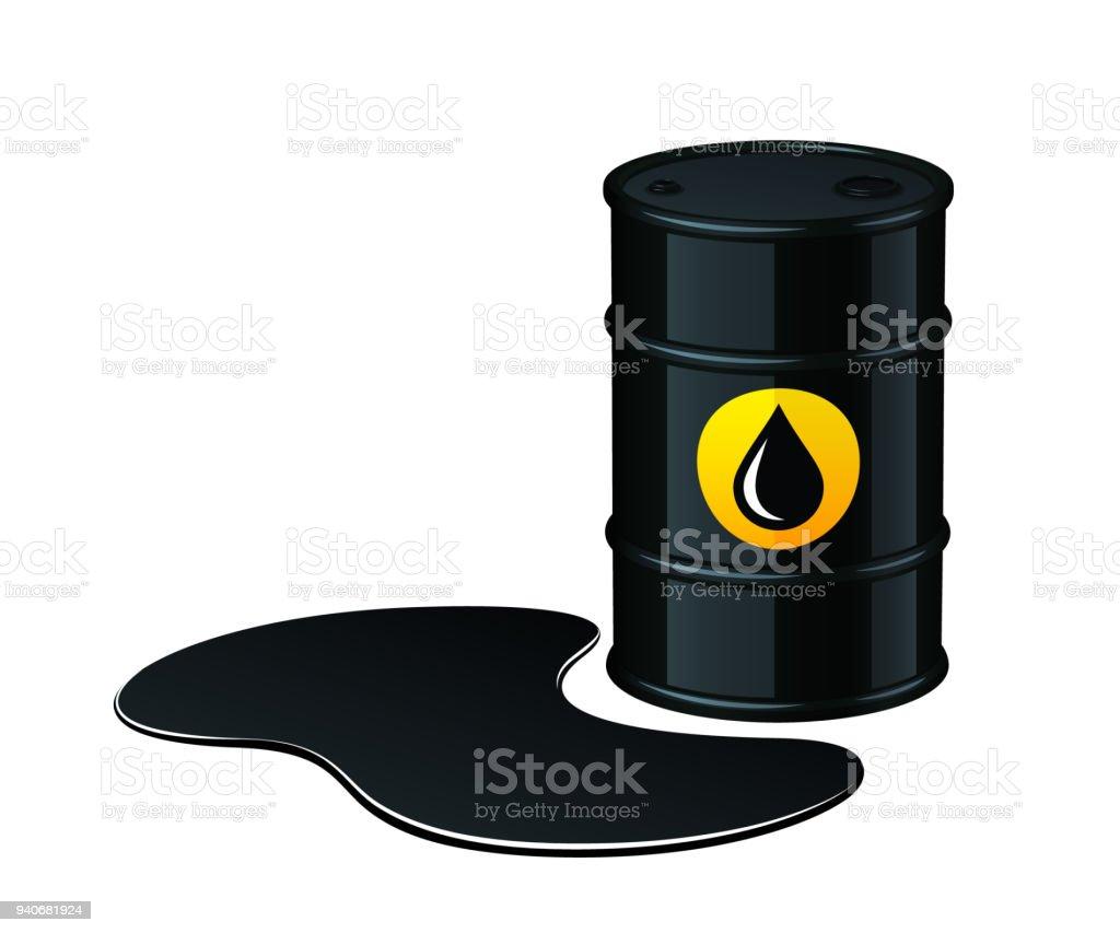Barrel of oil with spilled oil vector illustration vector art illustration