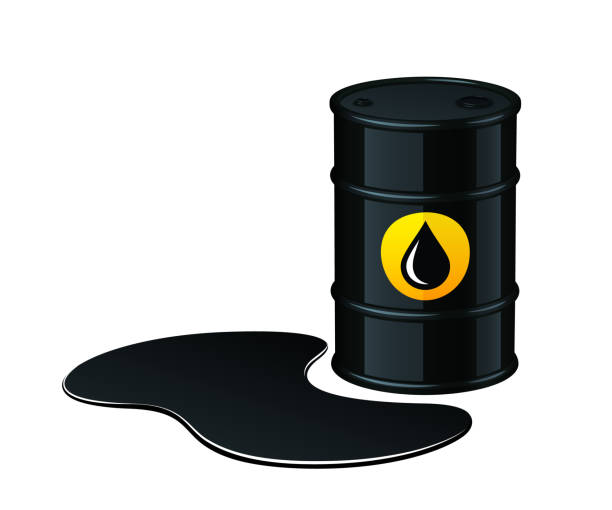 illustrazioni stock, clip art, cartoni animati e icone di tendenza di barrel of oil with spilled oil vector illustration - benzina
