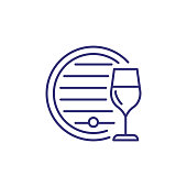 Barrel with wine and wineglass line icon. Alcoholic drinks, bar, winery. Restaurant concept. Vector illustration can be used for topics like drinks, menu, addiction