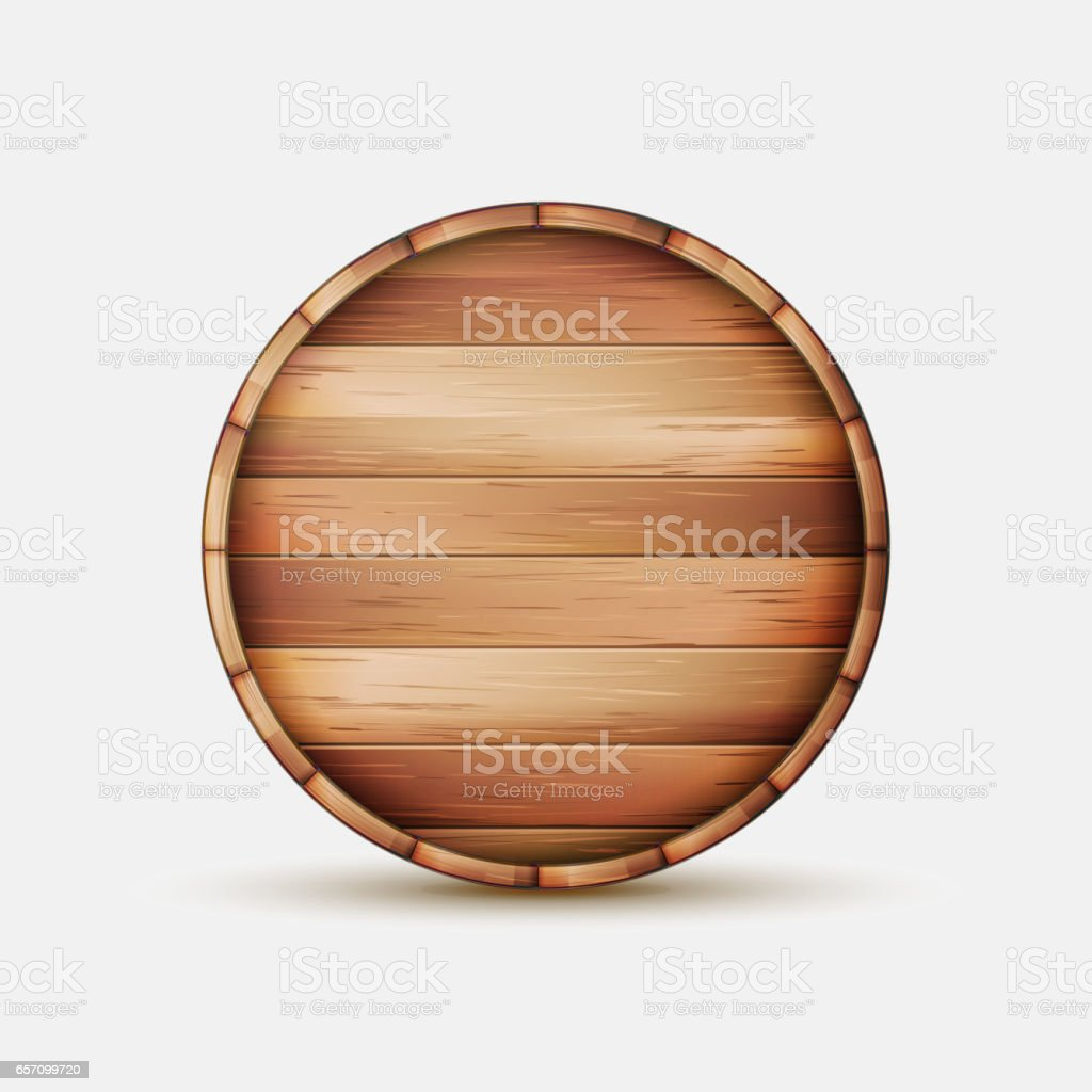 Barrel Wooden Sign Vector. Wooden Barrel Signboard For Cafe, Restaurant, Bistro, Brasserie, Beer, Wine Or Whiskey vector art illustration