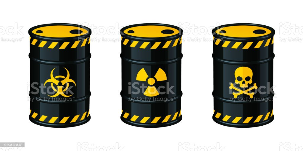 Barrels of waste vector illustration. Biohazard waste, Radioactive waste, Toxic waste. vector art illustration