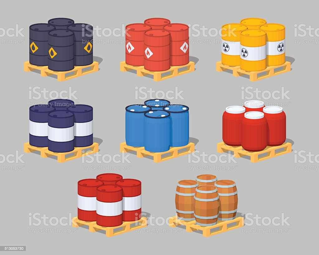 Barrels on the pallets vector art illustration