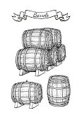 Barrels set isolated on white