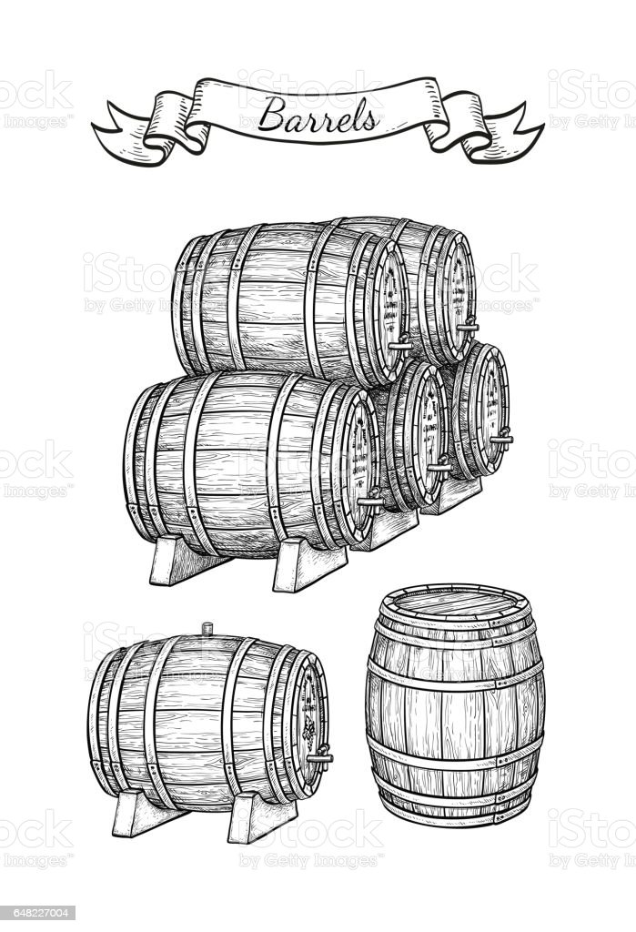 Barrels set isolated on white vector art illustration