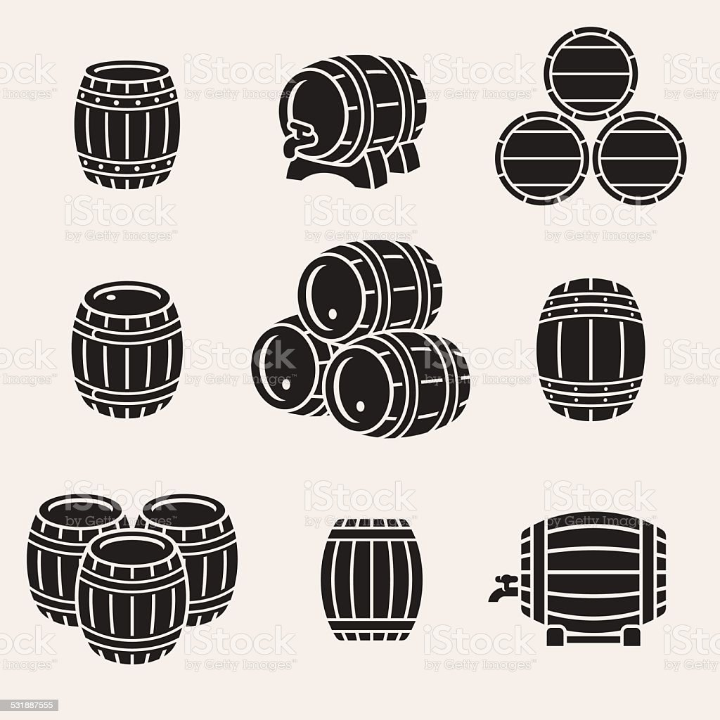 Barrels set. Vector vector art illustration