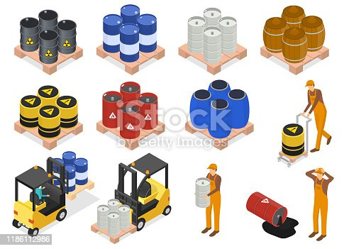 Barrels Sign 3d Icon Set Isometric View Include of Fuel, Man and Car. Vector illustration of Icons