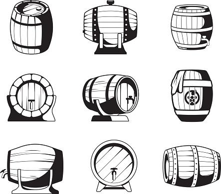 Barrels silhouettes. Wooden barrels symbols for wine or beer business logo design templates vector emblems collection