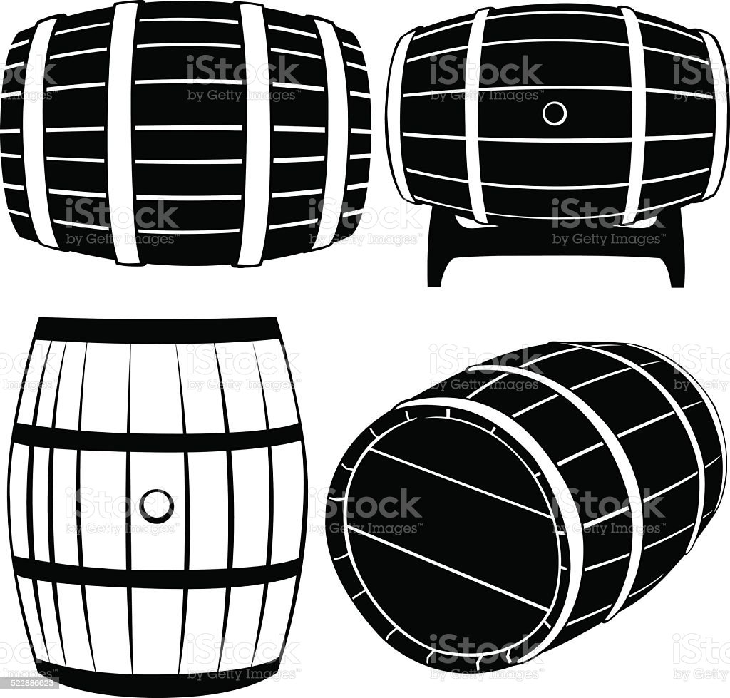 barrels vector art illustration