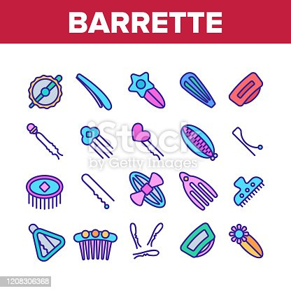 Barrette Accessory Collection Icons Set Vector. Barrette Pin Fashion Stylish Hair Tool With Flower, Star And Heart Detail, Clamp And Comb Concept Linear Pictograms. Color Illustrations