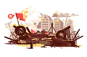 Barricades erected by the demonstrators to block the police. City street on fire. Burning tires wooden and concrete barriers barbed wire flat vector illustration. Concept of protest and mass riots