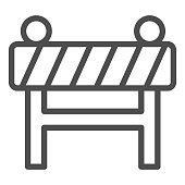 Barrier fence line icon. Under construction, road caution barricade symbol, outline style pictogram on white background. Warning sign for mobile concept and web design. Vector graphics