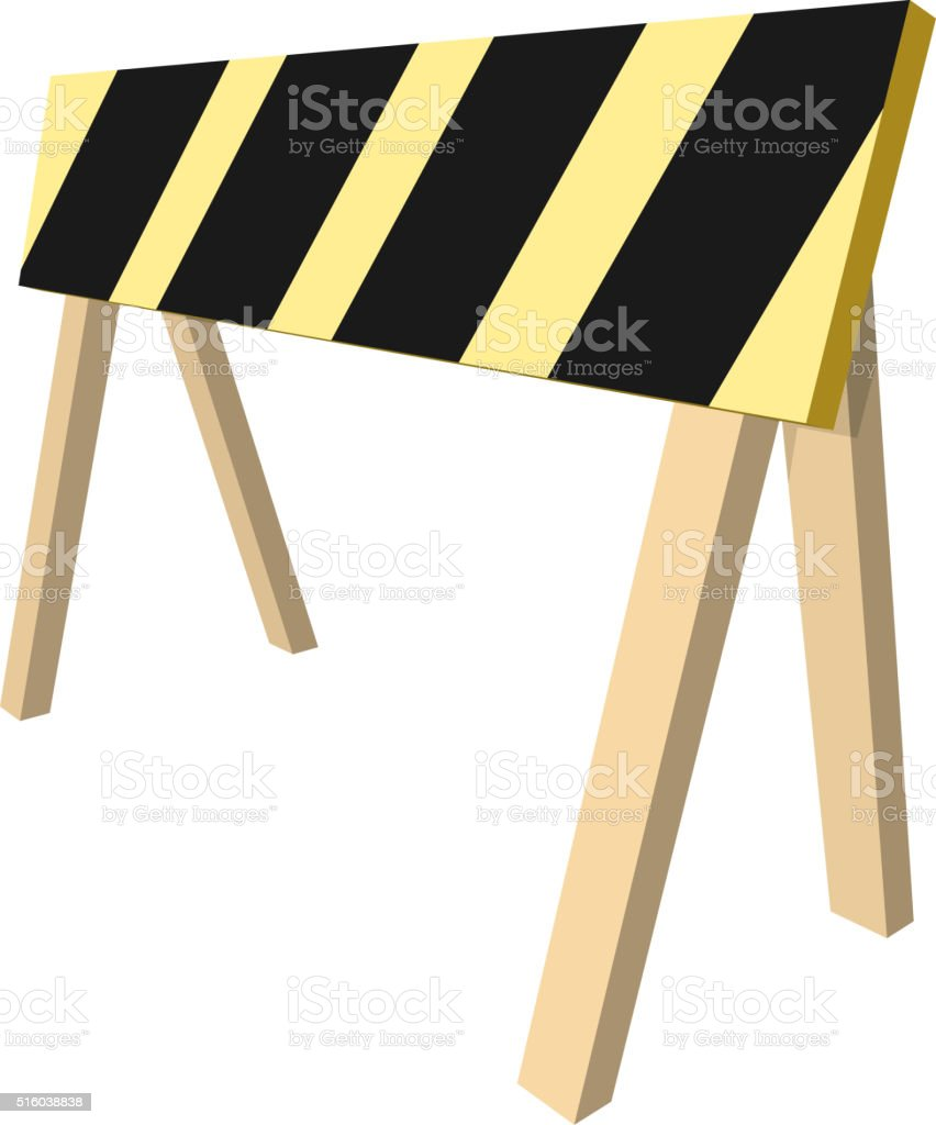 Barrier isolated on white background. Black and yellow stripe. vector art illustration
