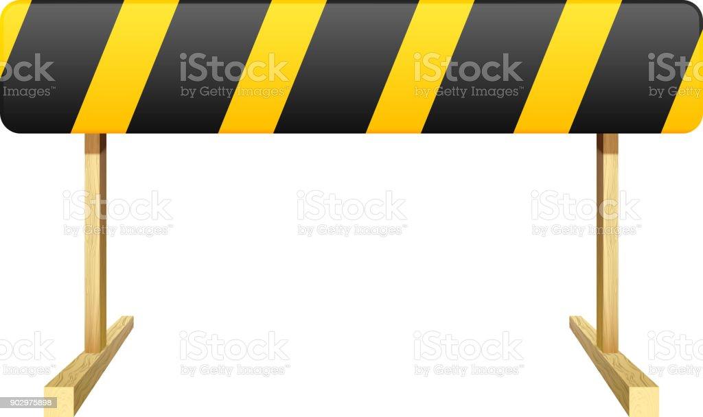 Obstacle isolé sur fond blanc. Rayures noires et jaunes. Illustration vectorielle. - Illustration vectorielle