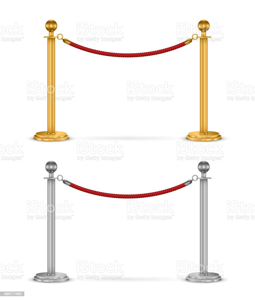 Barrier rope isolated vector art illustration