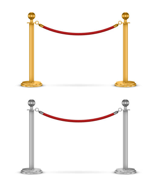 Barrier rope isolated Barrier rope isolated on a white background premiere event stock illustrations