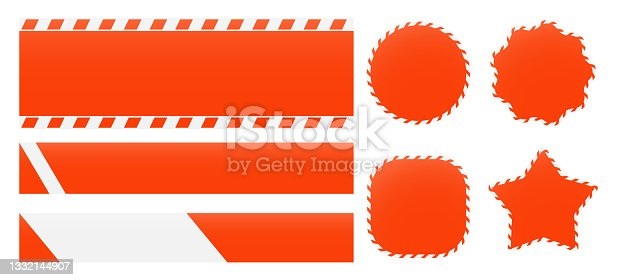 istock Barrier tapes and banners. Barricade lines and price tags. Industrial clip art and backgrounds 1332144907