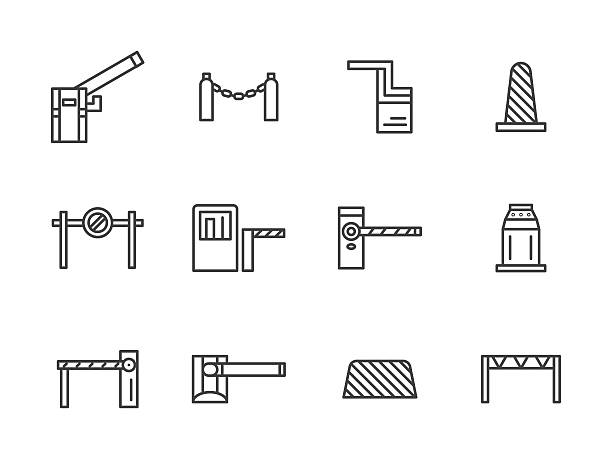 Barriers black line vector icons set vector art illustration