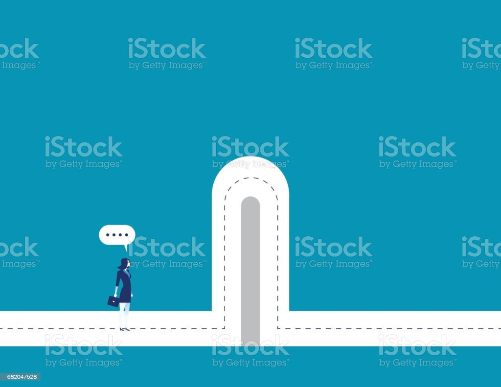Barriers. Businesswoman with break barriers. Concept business illustration. Vector business character and abstract. vector art illustration
